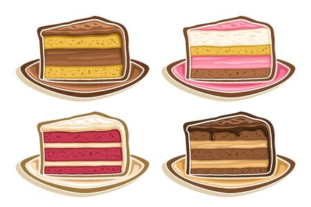 Vector Set assorted Slices of Cake, collection of 4 cut out illustrations of diverse colorful triangle cake slices, set of delicacy baked goods for cafe or restaurant menu on white background.