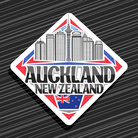 Auckland, white decorative road sign with illustration of auckland city scape on day sky background, tourist fridge magnet with unique letters for black words auckland, new zealand.