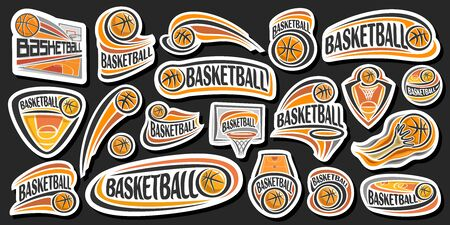 Vector Set for Basketball, lot collection of 20 cut out illustrations of decorative basketball signs, group of many various sports  with unique letters for word basketball on dark background.