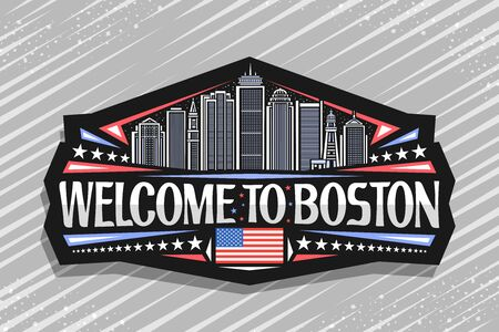Vector logo for Boston, black decorative badge with line illustration of famous boston city scape on twilight sky background, tourist fridge magnet with unique letters for words welcome to boston.