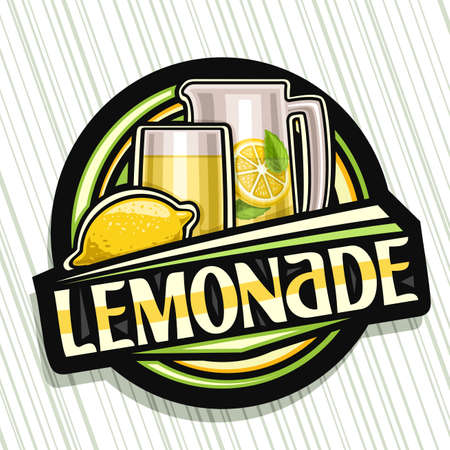 Vector logo for Lemonade, dark decorative sign with illustration of whole lemon and drink in glass and pitcher, fruit poster with unique lettering for word lemonade on gray striped background.