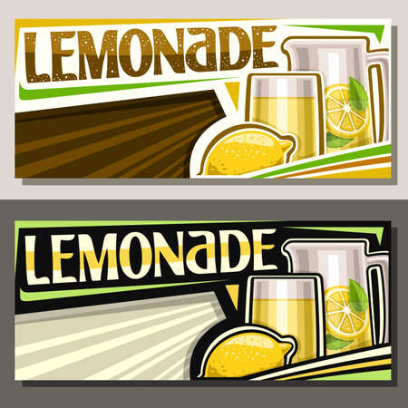 Vector banners Lemonade with copyspace, horizontal layouts with illustration of whole fruit and lemon drink with mint leaves in pitcher, unique brush lettering for word lemonade on striped background.