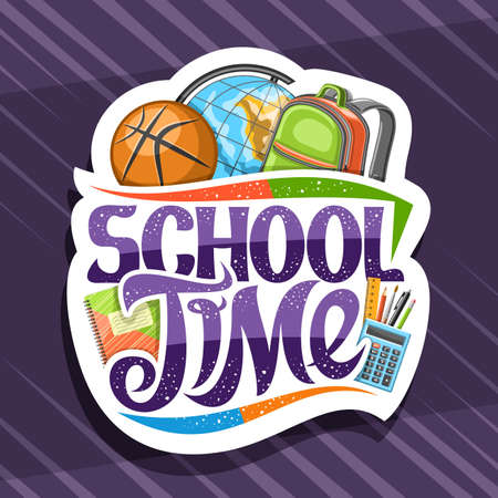 Vector logo for School Time, white decorative badge with illustration of colorful school accessories and unique brush lettering for words - school time on purple abstract background. 일러스트