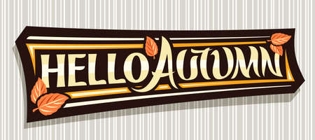 Vector lettering Hello Autumn, black label with curly calligraphic font, autumn leaves and decorative art stripes, voucher with swirly unique lettering hello autumn on gray abstract background. 스톡 콘텐츠 - 151865477