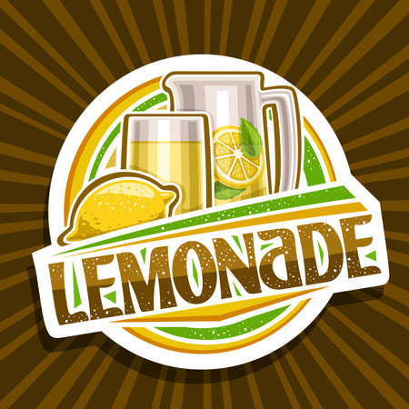 Vector logo for Lemonade, decorative cut paper sign with illustration of whole lemon and drink in glass and pitcher, fruit concept with unique lettering for word lemonade on brown abstract background.