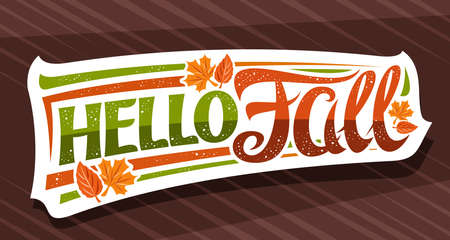 Vector lettering Hello Fall, white label with curly calligraphic font, illustration of decorative falling leaves and confetti, greeting card with swirly unique lettering hello fall on brown background 스톡 콘텐츠 - 151865482