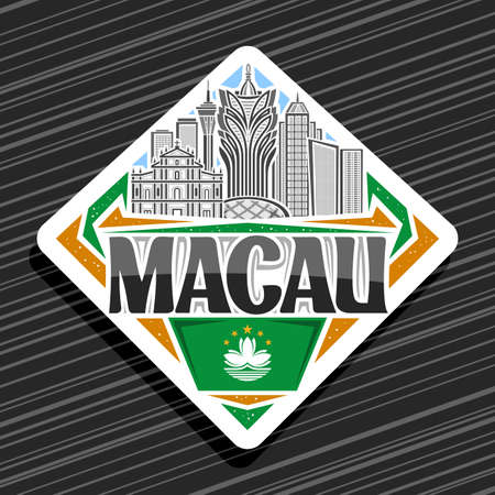 Vector logo for Macau, white decorative road sign with line illustration of famous macau city scape on day sky background, art design tourist fridge magnet with unique letters for black word macau.