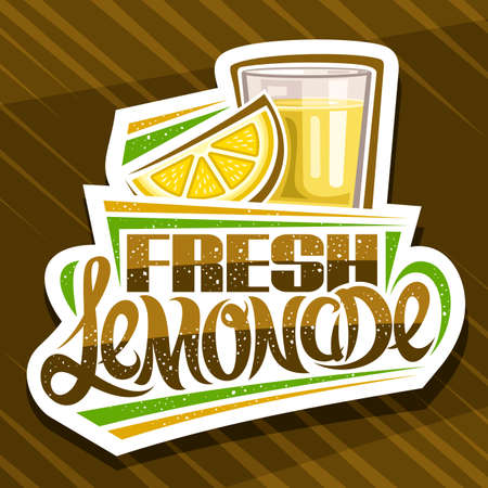 Vector logo for Fresh Lemonade, decorative cut paper sign with illustration of lemon slice and lemonade in glass, fruit concept with unique lettering for words fresh lemonade on abstract background. 일러스트