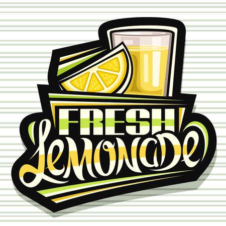 Vector logo for Fresh Lemonade, dark decorative signage with illustration of lemon slice and lemonade in glass, fruit concept with unique lettering for words fresh lemonade on gray striped background. 스톡 콘텐츠 - 151996103
