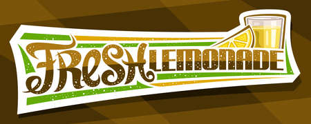 Vector label for Fresh Lemonade, decorative cut paper signboard with illustration of lemon slice and lemonade in glass, fruit concept with unique lettering fresh lemonade on brown abstract background. 스톡 콘텐츠 - 151996104