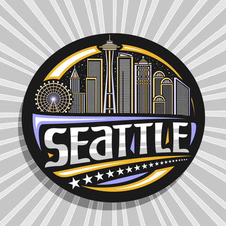 Vector logo for Seattle, black decorative badge with outline illustration of modern seattle city scape on evening sky background, art design tourist fridge magnet with unique letters for word seattle. 스톡 콘텐츠 - 151996105