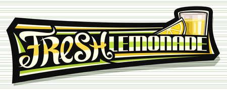 Vector label for Fresh Lemonade, dark decorative signage with illustration of lemon slice and lemonade in glass, fruit concept with unique lettering for words fresh lemonade on gray striped background 스톡 콘텐츠 - 151996106