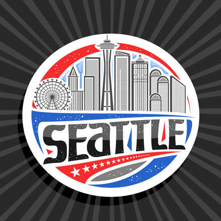 Vector logo for Seattle, white decorative tag with outline illustration of modern seattle city scape on day sky background, art design tourist fridge magnet with unique letters for black word seattle. 스톡 콘텐츠 - 151996107