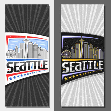 Vector layouts for Seattle, decorative leaflet with outline illustration of famous seattle city scape on day and dusk sky background, art design tourist card with unique letters for word seattle.