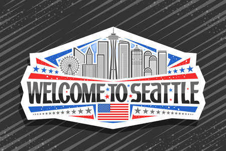 Vector logo for Seattle, white decorative badge with line illustration of famous seattle city scape on day sky background, tourist fridge magnet with unique letters for black words welcome to seattle. Illustration
