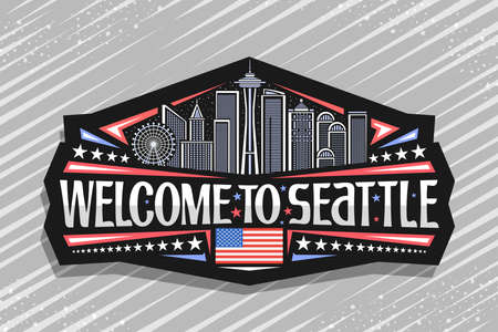 Vector logo for Seattle, black decorative badge with illustration of famous seattle city scape on dusk sky background, art design tourist fridge magnet with unique letters for words welcome to seattle 일러스트
