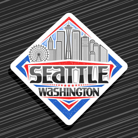 Vector logo for Seattle, white road sign with illustration of famous seattle city scape on day sky background, art design tourist fridge magnet with unique letters for black word seattle, washington. 스톡 콘텐츠 - 152090871