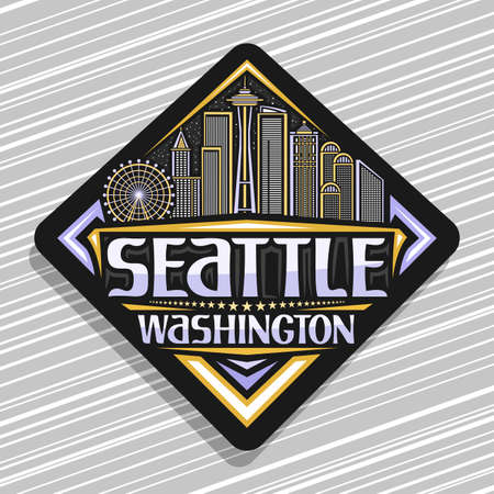 Vector logo for Seattle, black road sign with illustration of modern seattle city scape on twilight sky background, art design tourist fridge magnet with unique letters for word seattle, washington.