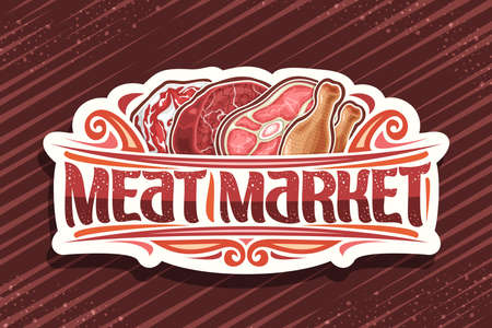 Vector logo for Meat Market, decorative cut paper badge with illustration of different meat pieces, signage with vintage flourishes and unique brush letters for words meat market on striped background 스톡 콘텐츠 - 152090873