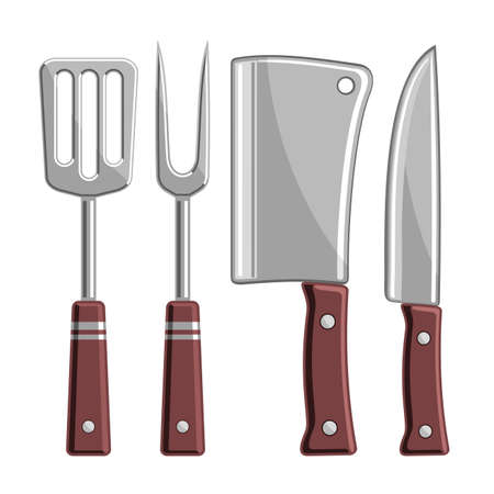 Vector Set of BBQ Tools, collection of 4 cut out illustrations - barbeque spatula, sharp fork, chef cleaver and stainless knife on white background. Ilustrace