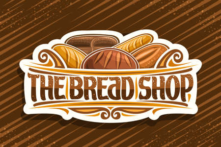 Vector logo for Bread Shop, cut paper label with illustration of heap bread loaves, decorative design curls, banner with unique brush letters for words - the bread shop on brown abstract background. 스톡 콘텐츠 - 152090878