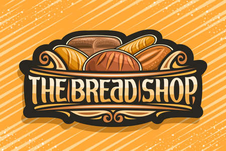 Bread Shop, dark label with illustration of pile assorted bread loaves, decorative design curls, banner with unique brush letters for words - the bread shop on yellow background. 스톡 콘텐츠 - 152226205