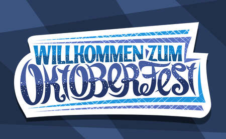 Vector greeting card for Oktoberfest, creative calligraphic font for beer festival with decorative stripes, white  with unique brush type for words willkommen zum oktoberfest on blue background. 스톡 콘텐츠 - 152230806