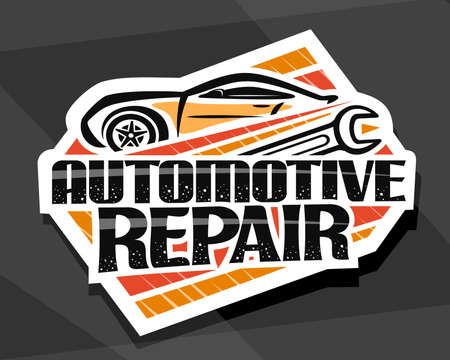 Automotive Repair, decorative cut paper sign board with simple outline vehicle and metal wrench, poster with unique lettering for words automotive repair on gray abstract background. 일러스트