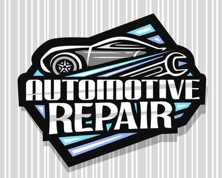 Automotive Repair, dark decorative sign board with simple outline vehicle and black wrench, badge with unique lettering for words automotive repair on gray striped background. 스톡 콘텐츠 - 152231158
