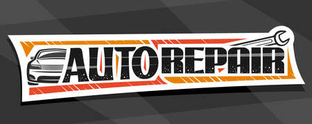 Vector banner for Auto Repair, decorative cut paper sign board with simple outline vehicle and metal wrench, badge with unique lettering for words auto repair on gray abstract background.
