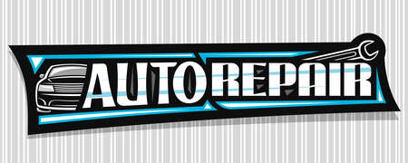 Vector banner for Auto Repair, dark decorative sign board with simple outline vehicle and black wrench, badge with unique lettering for words auto repair on gray striped background. 스톡 콘텐츠 - 152231162