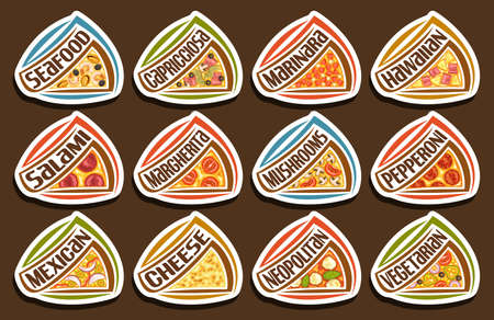 Vector Pizza Set, 12 cut out illustrations with traditional italian fast food shacks with diverse text of pizza title, lot group of decorative design white tags for pizza in fast food restaurant.