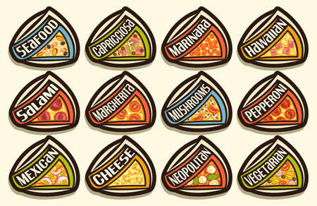 Vector Pizza Set, 12 cut out illustrations with traditional italian fast food shacks with diverse text of pizza title, lot group of decorative design black tags for pizza in fast food restaurant.