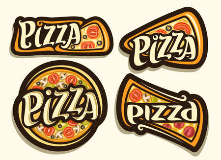 Vector Pizza Set, 4 isolated illustrations with traditional italian fast food with different pizza title, diverse group of decorative design dark badges with unique brush lettering for word pizza. 스톡 콘텐츠 - 152231830