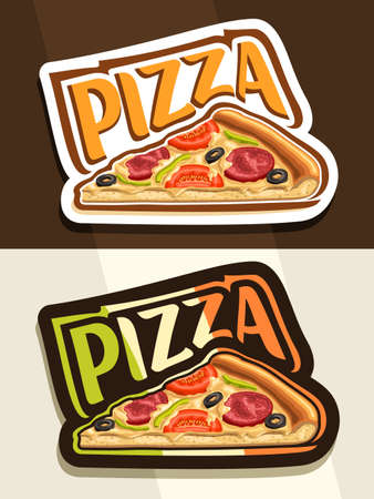 Pizza, 2 white and black badges with isolated slice of gourmet homemade pizza with pepperoni and veggies, unique typeface for word pizza colored of italian flag on dark background. 스톡 콘텐츠 - 152231833