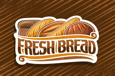 Fresh Bread, cut paper label with illustration of heap bread loaves, decorative design flourishes, banner with unique brush letters for words - fresh bread on brown abstract background