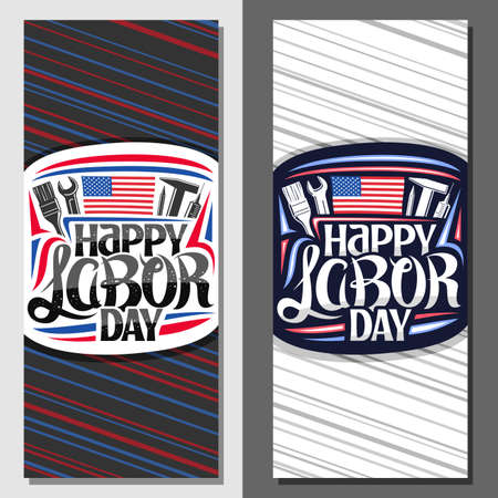 Vector layouts for American Labor Day with copy space, brochure with illustration of different work equipment, american flag and unique lettering for words happy labor day on red and blue background. 矢量图像