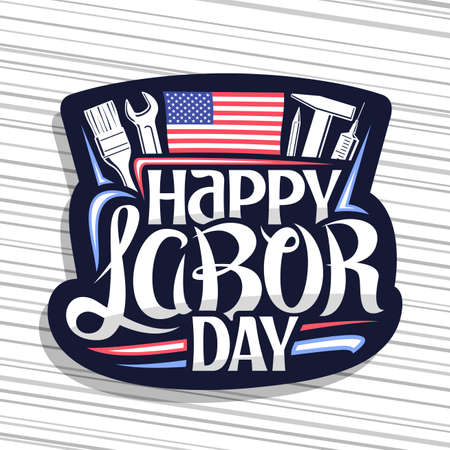 American Labor Day, dark decorative seal with illustration of different work equipment, american flag and unique hand lettering for words happy labor day on gray striped background. 矢量图像
