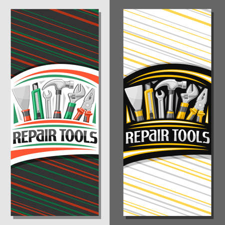 Vector layouts for Repair Tools, decorative leaflet with illustration of different yellow rubber and steel repair tools, art design brochure with unique letters for words repair tools for labor day. 矢量图像