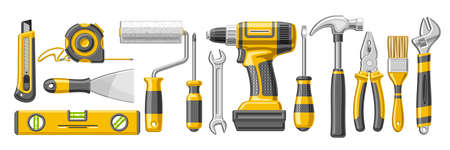 Vector set of Repair Tools, 13 cut out illustrations of variety yellow rubber and steel hardware tools, lot collection of objects for labor day on white background. 矢量图像