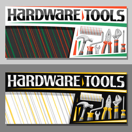 layouts for Hardware Tools with copy space, decorative sign board with illustration of various professional red and yellow hardware tools for labor day, unique letters for words hardware tools. 矢量图像