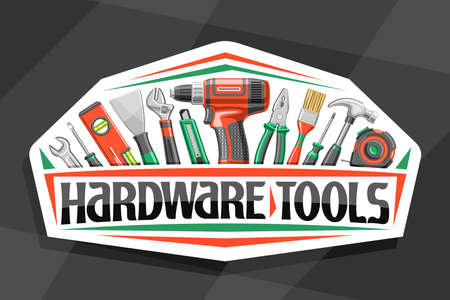 logo for Hardware Tools, white decorative sign board with illustration of various professional steel hardware tools, design concept with unique letters for words hardware tools for labor day.