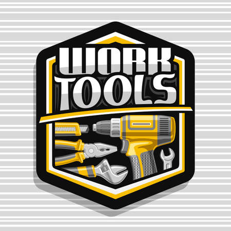 black decorative badge with illustration of different metal work tools for labor day, repair concept with unique letters for words work tools on gray striped background.