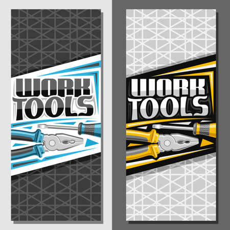 layouts for Work Tools with copy space, decorative brochure with illustration of different steel work tools for labor day, vertical signboard with unique brush letters for words work tools. 矢量图像