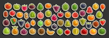 set of fresh Fruits, group of cut out cartoon fruits and berries, various minimal design fruit tags for sweet drinks or ice cream, collection of vegan simple icons isolated on black background. 矢量图像