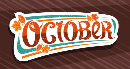 Vector banner for October, white   with curly calligraphic font, decorative autumn falling leaves and confetti, greeting card with swirly unique lettering october on brown abstract background. 矢量图像