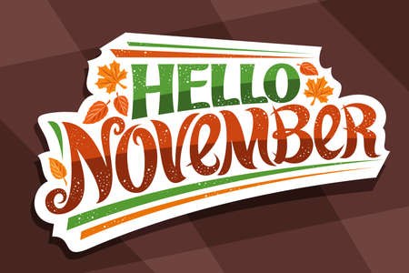 Vector lettering Hello November, white  curly calligraphic font, falling autumn leaves and decorative confetti, greeting card with swirly unique lettering hello november on brown background.
