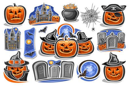 Vector set for Halloween holiday, 14 cut out illustrations with old castle on blue sky background and halloween Jack-o-Lanterns in hats and tombstone with unique letters for for words - 31 october.