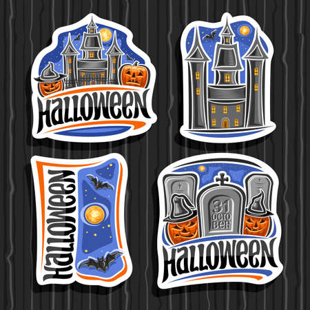 Vector set for Halloween holiday, 4 cut paper sings with old castle on blue sky background and pair halloween Jack-o-Lanterns in hats and tombstone with unique letters for for words - 31 october.