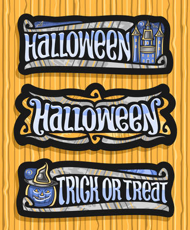 Vector set for Halloween holiday, 3 isolated illustrations with old castle and decorative flourishes, halloween Jack-o-Lantern in hat and unique brush letters for words - trick or treat. 矢量图像
